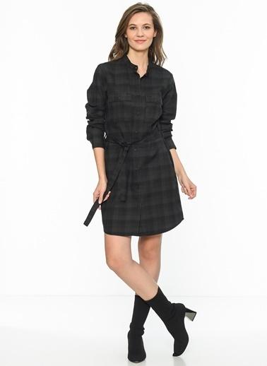 Lee Cooper Kare Desenli Gömlek Elbise Antrasit